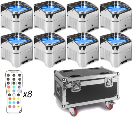 "BUNDLE: 8x BeamZ ""BBP96SC"" Uplight Akku LED Par mit WDMX und 6x 12 Watt RGBWA-UV LED's + ""FCC9"" Flightcase mit Ladefunktion"