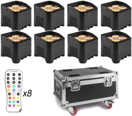 "BUNDLE: 8x BeamZ ""BBP94W"" Uplight Akku LED Par mit WDMX und 4x 12 Watt RGBWA-UV LED's + ""FCC9"" Flightcase mit Ladefunktion"