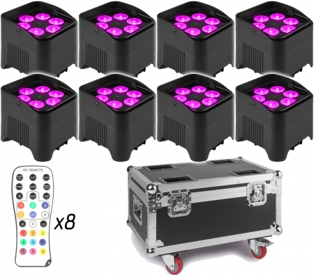 "BUNDLE: 8x BeamZ ""BBP96S"" Uplight Akku LED Par mit WDMX und 6x 12 Watt RGBWA-UV LED's + ""FCC9"" Flightcase mit Ladefunktion"
