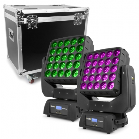 "BUNDLE: 2x BeamZ ""Matrix 55"" LED Moving Heads mit Flightcase"