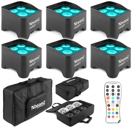 "BUNDLE: 6x BeamZ ""BBP90"" Uplight Akku LED Par mit 4x 4 Watt RGB-UV + Soft Case"