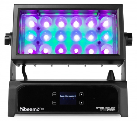 "BeamZ Professional ""Star-Color 270Z"" IP65 Wall Wash Panel mit Zoom, Ambient Backlight, WDMX & 18x 15W RGBW LED's"
