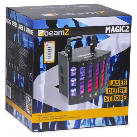 "BeamZ ""Magic2"" 9x 3 Watt LED DMX Derby mit Laser, Strobe & UV"