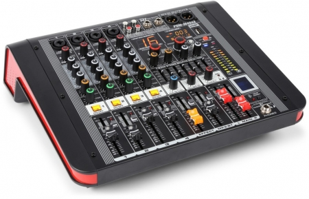 "Power Dynamics ""PDM-M404A"" 4-Kanal Power Mixer mit 2x 200W RMS, 24-Bit DSP, Bluetooth und USB Player"