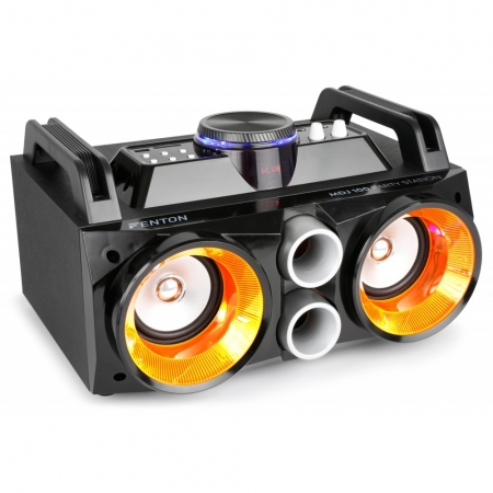 "FENTON ""MDJ100"" Partystation 100W Akku Sound System mit BT/USB/SD/LED"