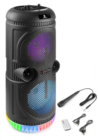 "FENTON ""SPS75""  Akku Party Karaoke Speaker mit Bluetooth/USB/MicroSD/LED & Fernbedienung"