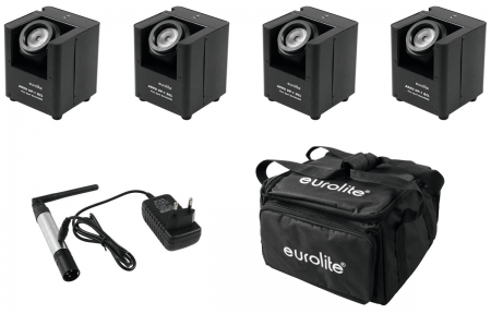 "BUNDLE: 4x EUROLITE ""AKKU UP-1"" + ""SB-4"" Soft-Bag + ""QuickDMX"" Funksender"