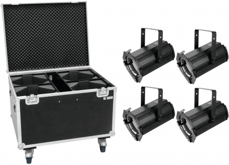 "SET: 4x EUROLITE ""LED THA-100F MK2"" Theater-Spot inkl. Flightcase auf Rollen"