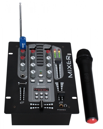"IBIZA Sound ""DJM150BT-VHF"" 5-Kanal USB MP3 Bluetooth MIxer mit Funkmikrofon"