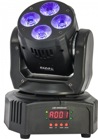 "IBIZA Light ""LMH-MINIWASH"" 4x 18 Watt RGBWA+UV LED HEX Wash Light Moving Head"