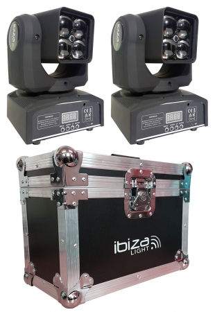 "BUNDLE: 2x IBIZA Light ""LMH410Z"" 4x 10 Watt RGBW LED Beam Moving Head Zoom mit Case"