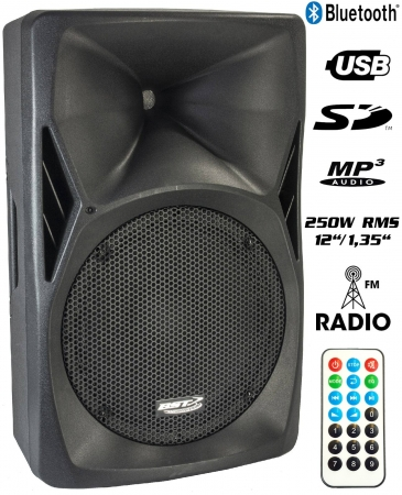 "BST ""PH12-BT"" Aktiver 12"" PA-Lautsprecher mit Bluetooth, UKW Radio, USB/SD MP3 Player, 250W RMS, IR-Fernbedienung"