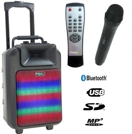 "IBIZA Sound ""POWER8-LED MKII"" Mobiles Akku PA Multifunktionssystem BT/USB/SD/VHF/IRC/LED"