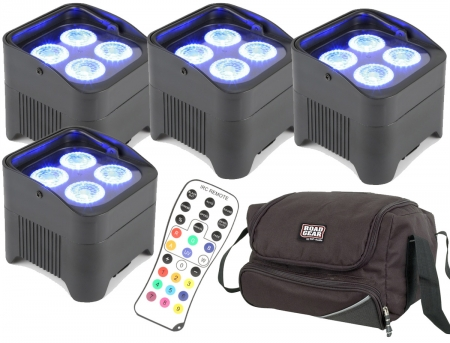 "BUNDLE: 4x BeamZ ""BBP94"" Uplight Akku LED Par mit 4x 10 Watt RGBWA-UV + Soft Case"