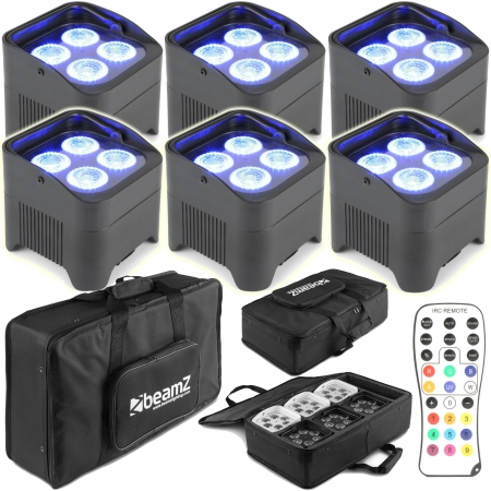 "BUNDLE: 6x BeamZ ""BBP94"" Uplight Akku LED Par mit 4x 10 Watt RGBWA-UV + Soft Case"