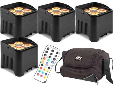 "BUNDLE: 4x BeamZ ""BBP94W"" Uplight Akku LED Par mit WDMX und 4x 12 Watt RGBWA-UV LED's + Soft Case"