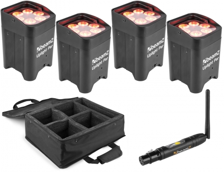 "BUNDLE: 4x BeamZ ""BBP96"" W-DMX Uplight Akku LED Par mit 6x 10 Watt RGBWA-UV + Soft Case"