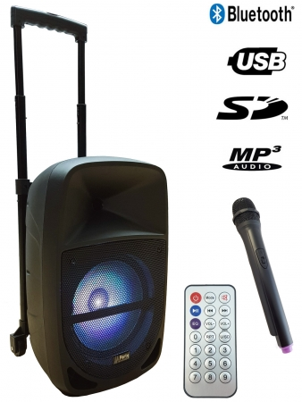 "PARTY Mobiles Soundsystem ""PARTY-MEETY10"" mit Funkmikro, IR-FB, USB, MicroSD & Bluetooth"
