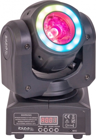 "IBIZA Light ""MHBEAM40-FX"" Moving Head 40W RGBW LED Beam mit LED Ring"