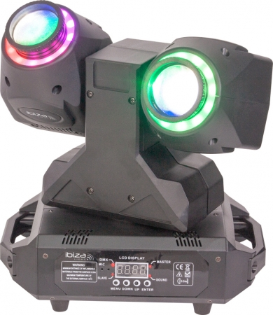 "IBIZA Light ""MHBEAM60-FX"" Doppel Moving Head Beam mit 2x 30 Watt RGBW LED & FX Ringen"