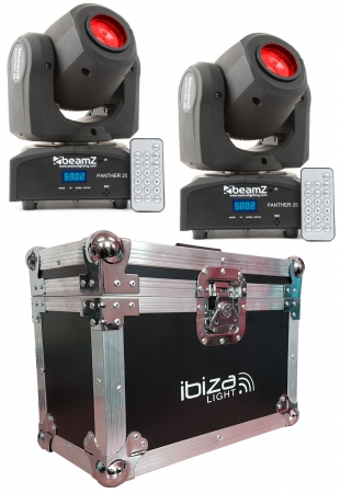 "BUNDLE: 2x BeamZ ""Panther 25"" Moving Head mit 12 Watt CREE LED und Case"