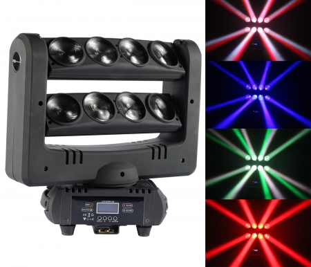 "FOS ""Spider RGBW"" 8x 10 Watt CREE LED RGBW Moving Head Beam"