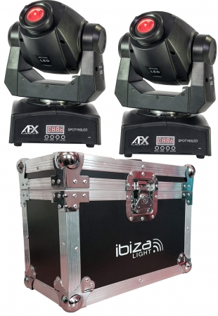 "BUNDLE: 2x AFX Light ""SPOTY60LED"" Moving Head Spot mit 60 Watt LED inkl. Case"