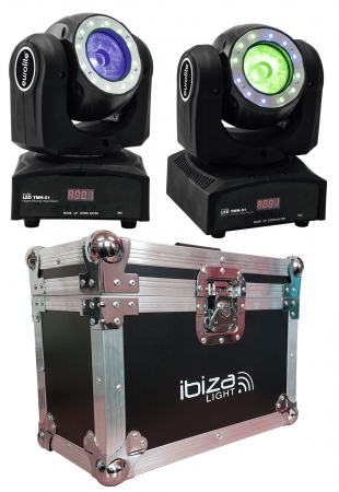 "BUNDLE: 2x EUROLITE ""LED TMH-51"" Hypno Moving Head Beam mit Case"