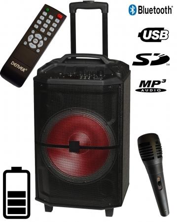 "DENVER ""TSP-400"" Tragbare 12"" Akku Multifunktions Sound Box mit BT/FM/USB/SD/IRC/LED"