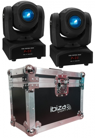 "BUNDLE: 2x IMG Stage Line ""TWIST-1LED"" Moving Head mit 12 Watt CREE LED und Case"