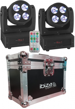 "BUNDLE: 2x IMG Stage Line ""WASH-50LED"" Moving Head Beam 4x 15W OSRAM RGBW mit Case"