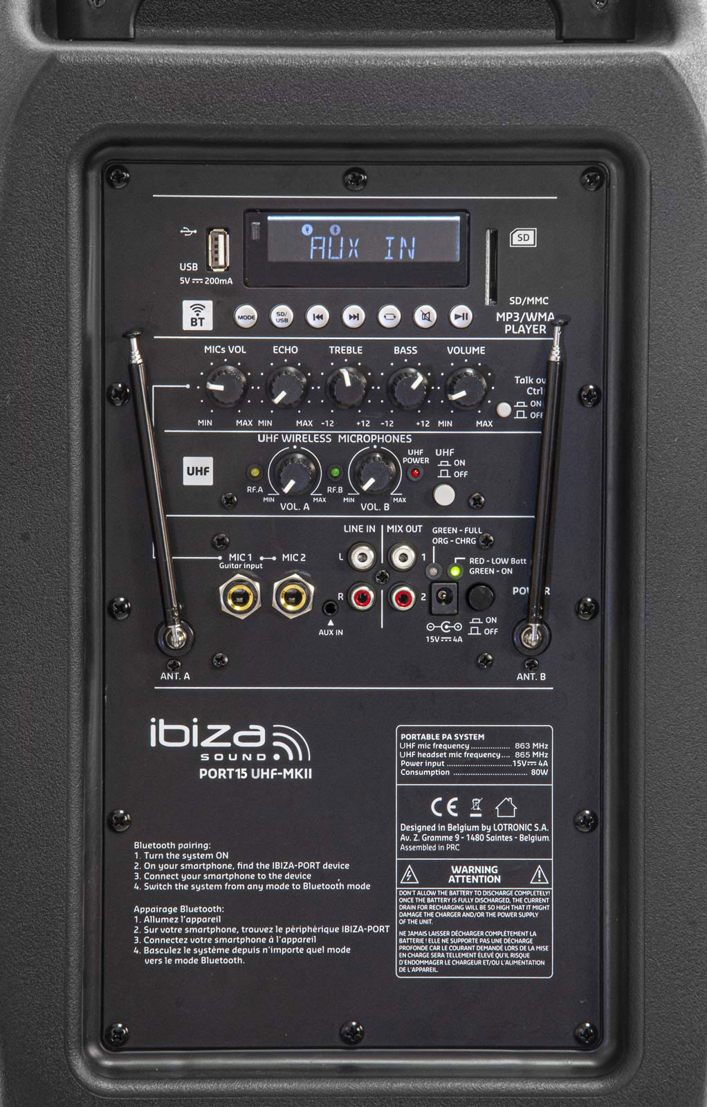 Tragbar Akku Beschallungsanlage Funkmikrofon USB Bluetooth Headset MP3 38cm Bass