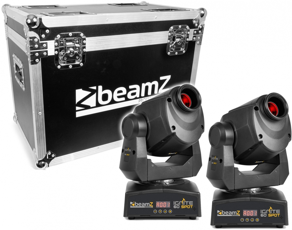"SPAR SET: 2x BeamZ Professional ""IGNITE60"" Moving Head mit 60 Watt LED + Flight Case"