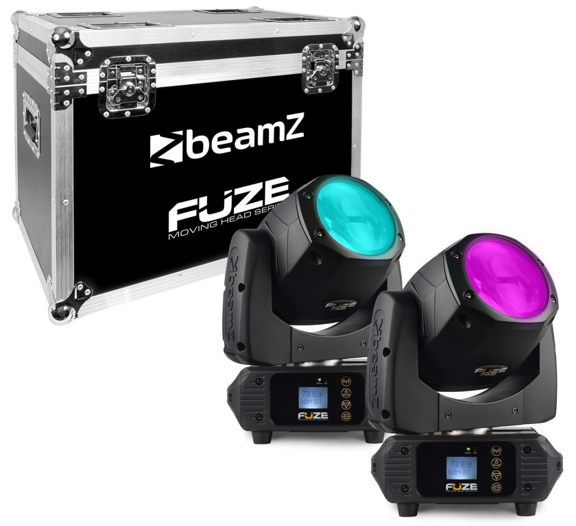 "BUNDLE: 2x BeamZ ""Fuze75B Beam"" LED Moving Head Beam & Flightcase"