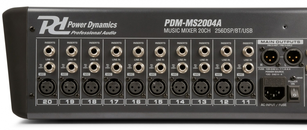 "Power Dynamics ""PDM-S2004"" 20-Kanal Live Mischpult mit 24-Bit DSP, Bluetooth und USB Player"
