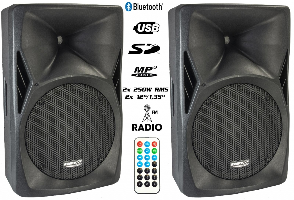 "PA-Set: BST ""PH12-BT"" Aktivbox mit Bluetooth, UKW , USB/SD MP3 Player + ""PH12-PASS"" Passivbox"
