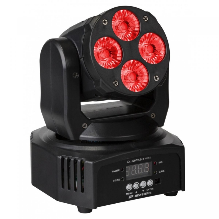 "JB SYSTEMS ""CLUBWASH MINI"" 4x 12 Watt RGBWA+UV LED Wash Moving Head"