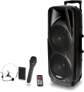 "IBIZA Sound ""PORT225VHF-BT"" Akku PA Lautsprecher Box mit Bluetooth, USB, MP3, SD, 2x Funkmikrofon"